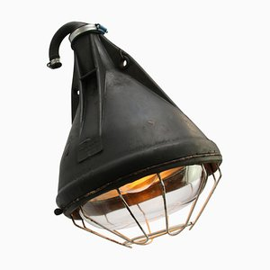 Industrial German Black Rubber and Glass Ceiling Lamp, 1950s