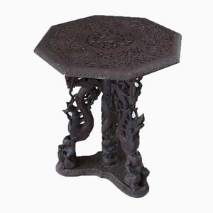 Burmese Octagonal Carved Occasional Table, 1920s