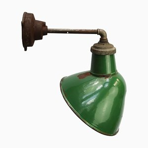 Industrial Cast Iron and Green Enamel Sconce, 1950s