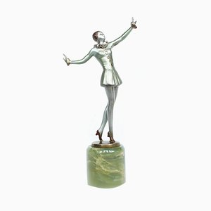 Art Deco Bronze Dancer Sculpture by Josef Lorenzl, 1930s