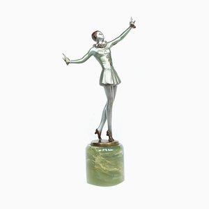 Art Deco Tänzerin-Skulptur aus Bronze von Josef Lorenzl, 1930er