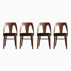 Chaises de Salle à Manger en Mohair Vert de Fameg, 1950s, Set de 4