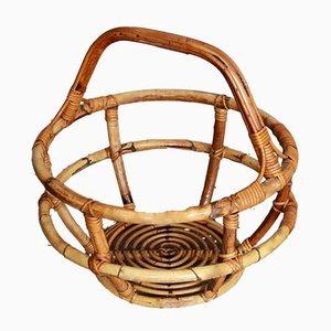 Large Italian Reed & Rattan Basket, 1960s