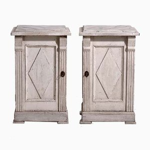 Antique Gustavian Style Wooden Bedside Cabinets, Set of 2