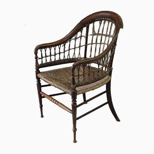 Antique Rustic Cane and Wicker Armchair