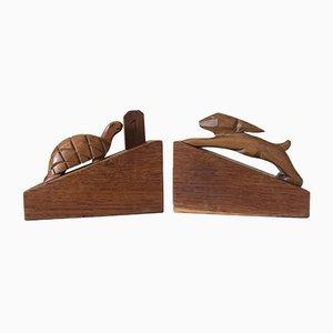Sujetalibros vintage de madera de La Fontaine. Juego de 2