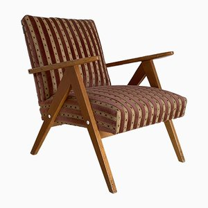 Mid-Century Beech and Textile Lounge Chair