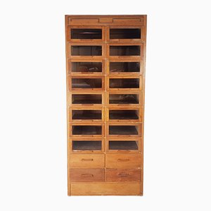 Industrial Glass and Oak Cabinet from Dudley & Co., 1940s