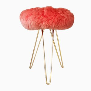 Italian Lambskin & Brass Loop Stool, 1960s