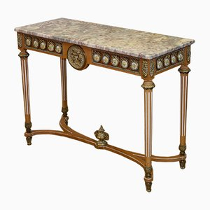 Neo-Classical Style Italian Marble, Gilt Metal & Beech Console Table, 1950s