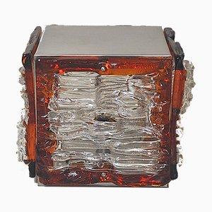 Lampe de Bureau Cube en Verre Coloré par Angelo Brotto pour Poliarte, Italie, 1960s