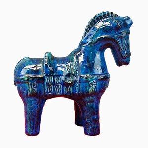 Blue Ceramic Horse by Aldo Londi for Bitossi, 1960s