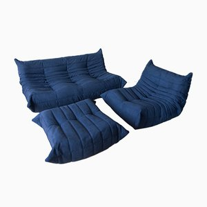 Vintage Blue Microfibre Togo Living Room Set by Michel Ducaroy for Ligne Roset, 1970s