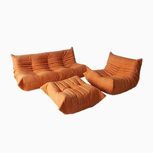 Vintage Orange Microfibre Togo Living Room Set by Michel Ducaroy for Ligne Roset, 1970s