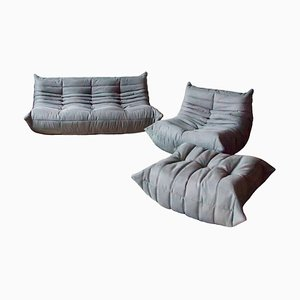 French Grey Microfiber Togo Living Room Set by Michel Ducaroy for Ligne Roset, 1970s