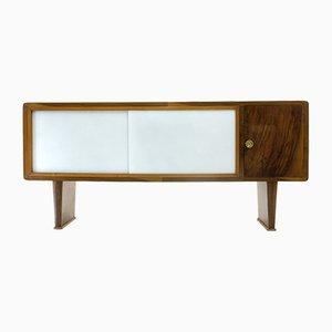 Aparador italiano Mid-Century de vidrio y madera, años 40
