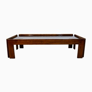 Italian Smoked Glass and Wood Coffee Table by Tobia & Afra Scarpa, 1960s