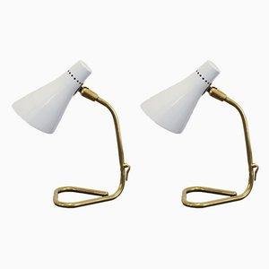 Lámparas de mesa de aluminio y latón de Giuseppe Ostuni para Oluce, años 50. Juego de 2