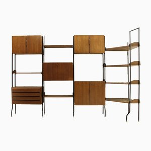 Mid-Century Italian Brass, Glass, and Wood Wall Unit, 1950s