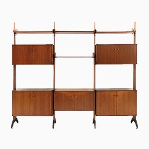 Italian Brass and Metal Wall Unit from AV Arredamenti Moderni, 1960s