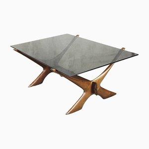 Table Basse Condor Moderniste en Noyer par Fredrik Schriever Abeln pour Örebro Glass, 1960s