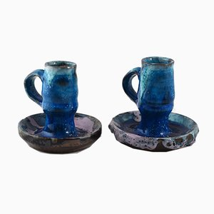Candelabros Mid-Century de cerámica de Alice Colonieu. Juego de 2