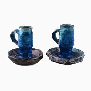 Mid-Century Kerzenhalter aus Keramik von Alice Colonieu, 2er Set