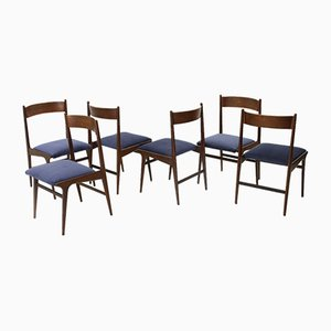 Italian Wood and Velvet Dining Chairs, 1950s, Set of 6