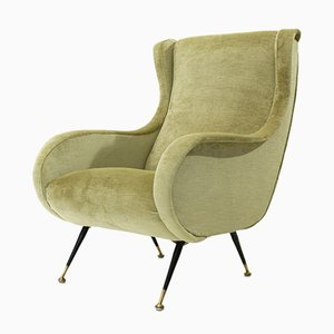 Mid-Century Italian Brass, Metal, and Velvet Armchair, 1960s