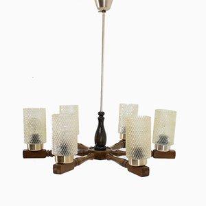 Lampadario grande vintage in legno e vetro, anni '80