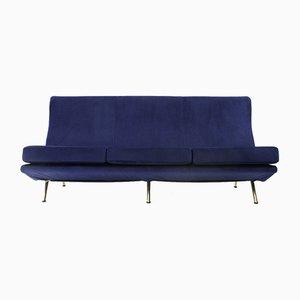 Blaues italienisches IX Triennale Samtsofa von Marco Zanuso für Arflex, 1950er