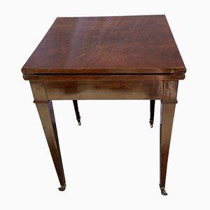 Mesa de juegos vintage de cuero y madera, años 20