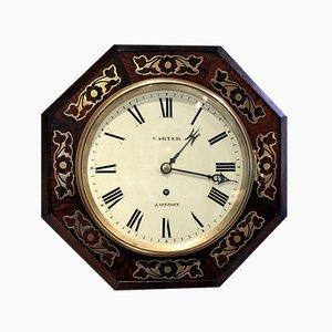 Reloj de pared Regency antiguo pequeño octagonal, década de 1830