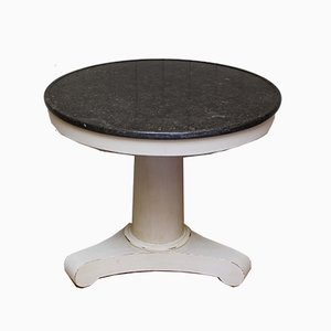 Antique Circular Granite Top Pedestal Table
