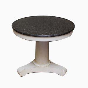 Mesa de pedestal antigua redonda con tablero de granito