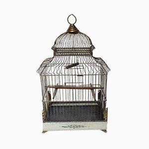 Antiker edwardianischer Vogelkäfig aus Messing & bemaltem Metallblech im Pavilion-Stil