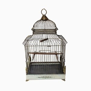 Antique Edwardian Pavilion Style Brass and Toleware Wire Birdcage