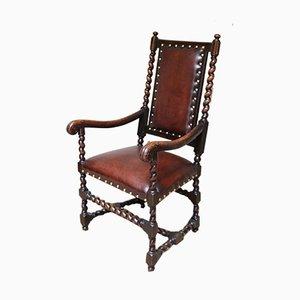Vintage Oak & Leather Side Chair, 1920s