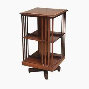 Antique Edwardian Inlaid Mahogany Revolving Bookcase