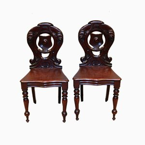 Antique Mahogany Hall Chairs, Set of 2
