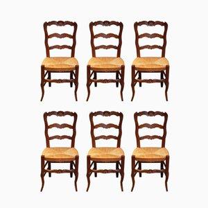 Chaises de Salle à Manger Vintage en Hêtre, France, 1920s, Set de 6