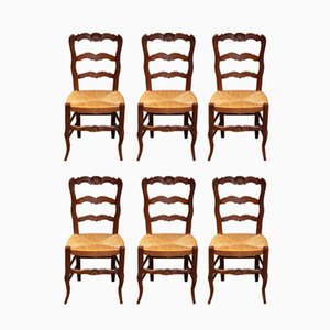 Vintage French Beech Dining Chairs, 1920s, Set of 6