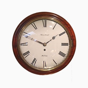 Reloj de pared antiguo convexo con mecanismo de cuerda