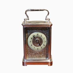 Große antike versilberte Reiseuhr