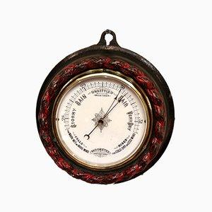 Barómetro aneroide victoriano antiguo redondo de hierro fundido