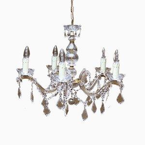 Lámpara de araña francesa de cristal tallado con 5 ramas, años 50