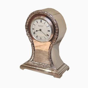 Antique Edwardian Silver Plated Balloon Clock, 1910