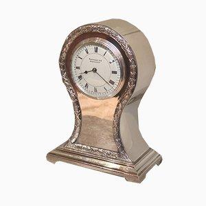 Reloj eduardiano antiguo con forma de globo bañado en plata, 1910
