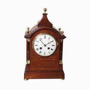 Reloj de repisa eduardiano antiguo de caoba