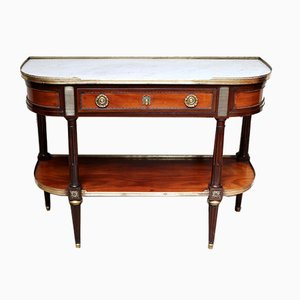 Antique French Mahogany & Marble Console Table